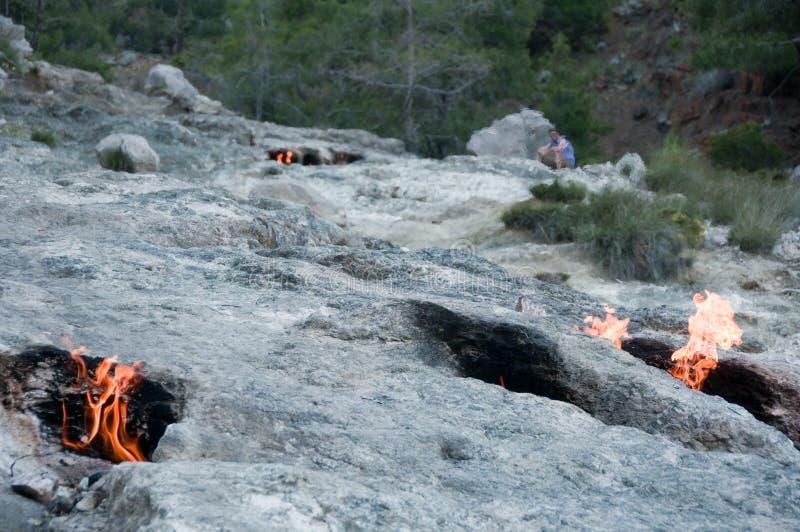 Montera skenbilden, eviga flammor i forntida Lycia, Turkiet royaltyfri fotografi