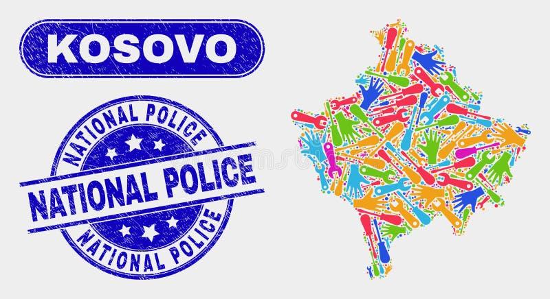 Montera skyddsremsor för Kosovo översikts- och Grungenationell polis royaltyfri illustrationer