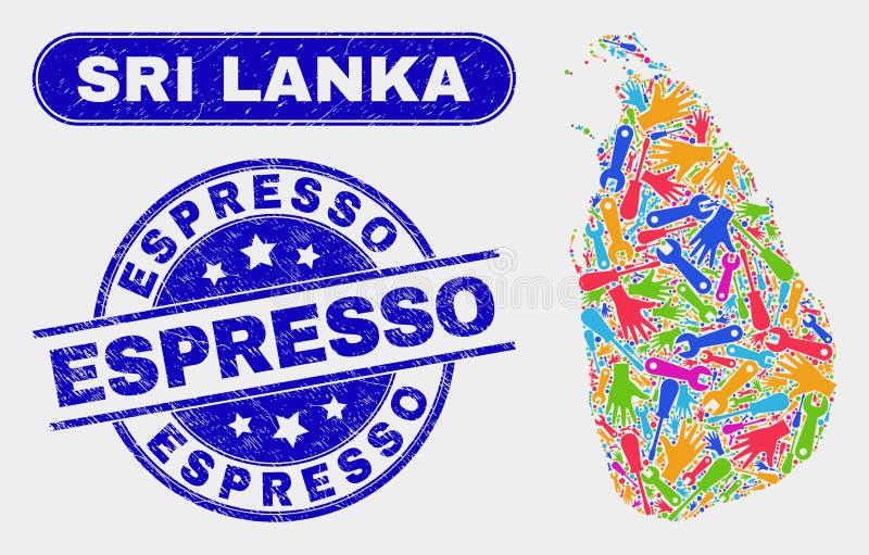 Montera vattenstämplar för Sri Lanka översikts- och Grungeespresso stock illustrationer