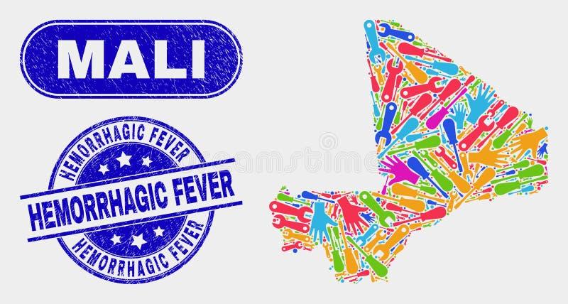 Montera vattenstämplar Mali Map och för Grunge för Hemorrhagic feber stock illustrationer