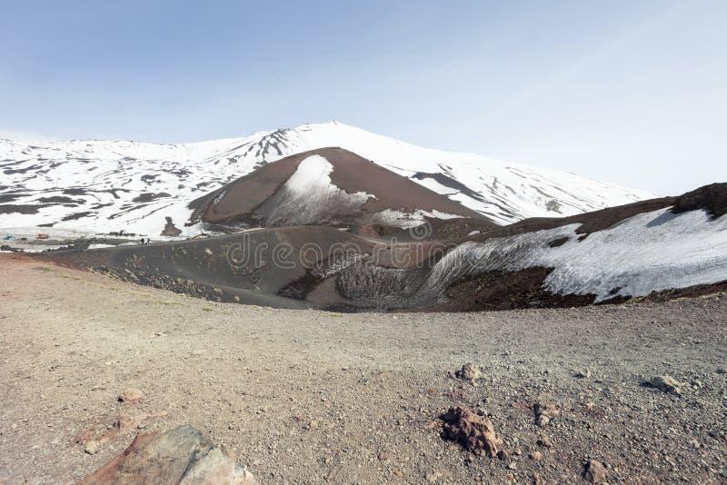Montera vulkan Etna, vulkanisk krater med snö italy sicily arkivbild