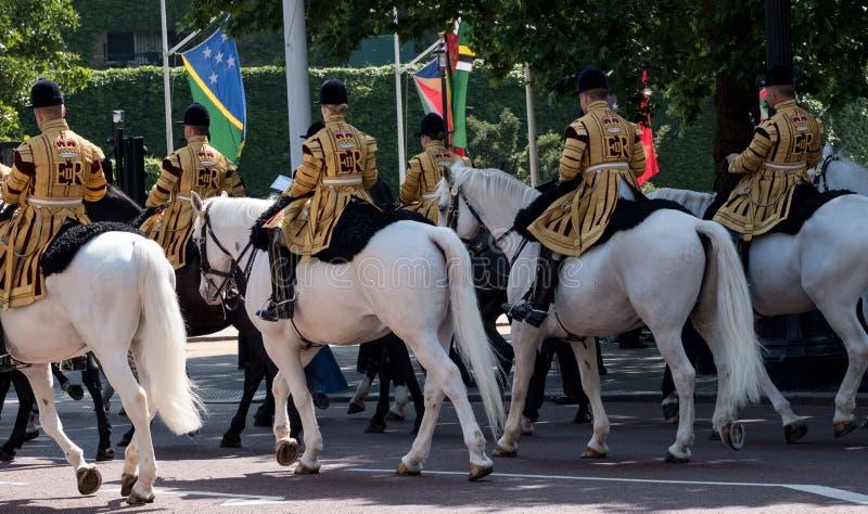 Monterad musikband som rider vita hästar, deltagande i gå i skaror den militära ceremonin för färg, London UK royaltyfri fotografi