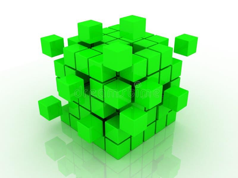 monterande blockkub stock illustrationer