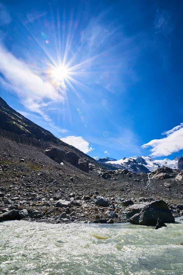 Monteratsch Glacier in the Bernina Range of the Bündner Alps royalty free stock photography