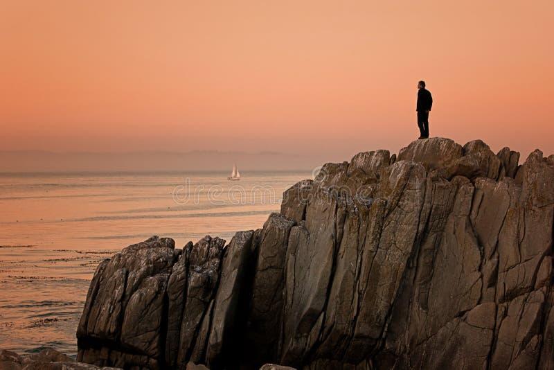 Monterey California, tramonto del punto degli amanti immagine stock libera da diritti