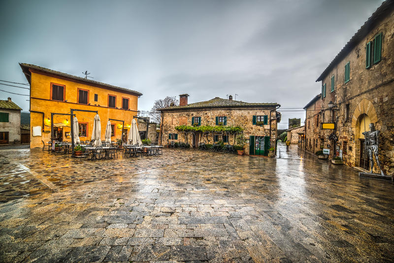 Monteriggioni main square. In Italy stock photos