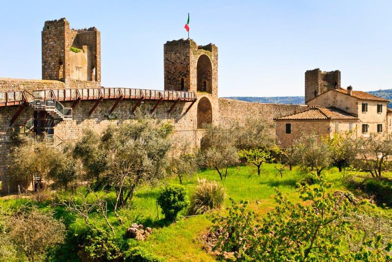 Monteriggioni perto de Siena, Toscânia, Italy imagem de stock