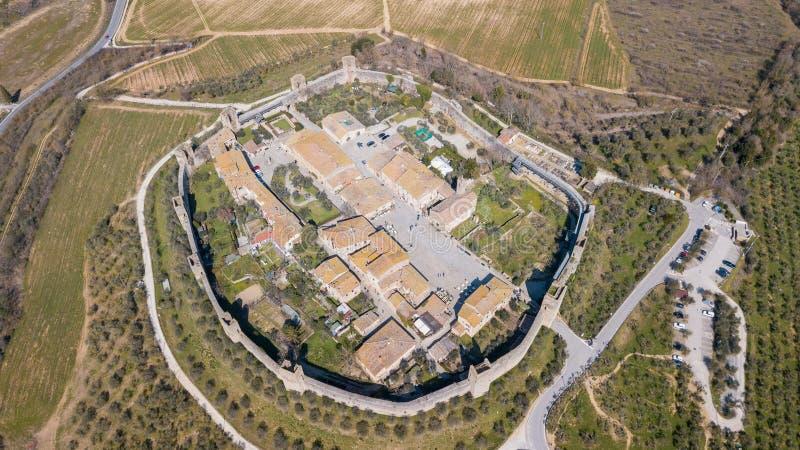 Monteriggioni, Siena, Italia Paisaje aéreo del abejón del pueblo medieval maravilloso Toscana, Italia imágenes de archivo libres de regalías
