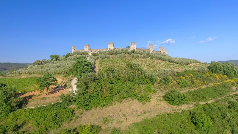 Monteriggioni, Tuscany. Awrial panoramic view of city and countryside royalty free stock photo