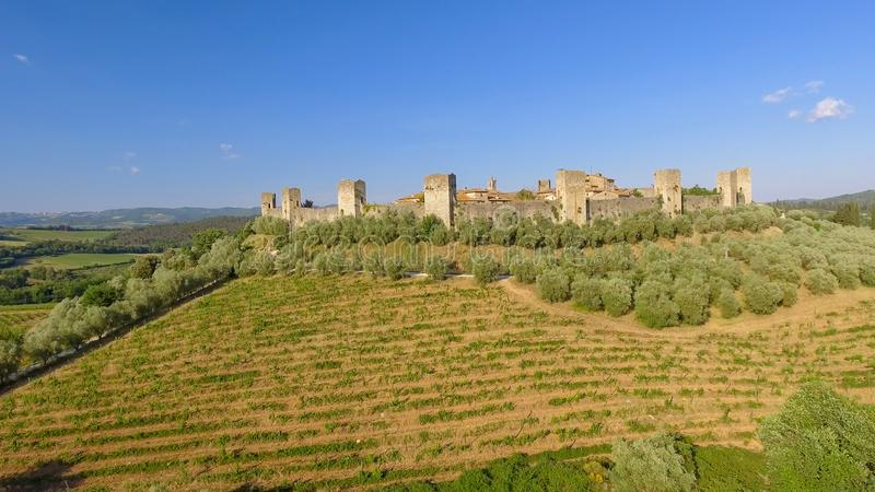 Monteriggioni, Tuscany. Awrial panoramic view of city and countryside royalty free stock image