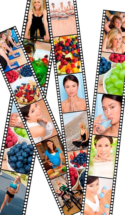 Montering het Gezonde Vrouwen Vrouwelijke Levensstijl & Eten royalty-vrije stock afbeelding