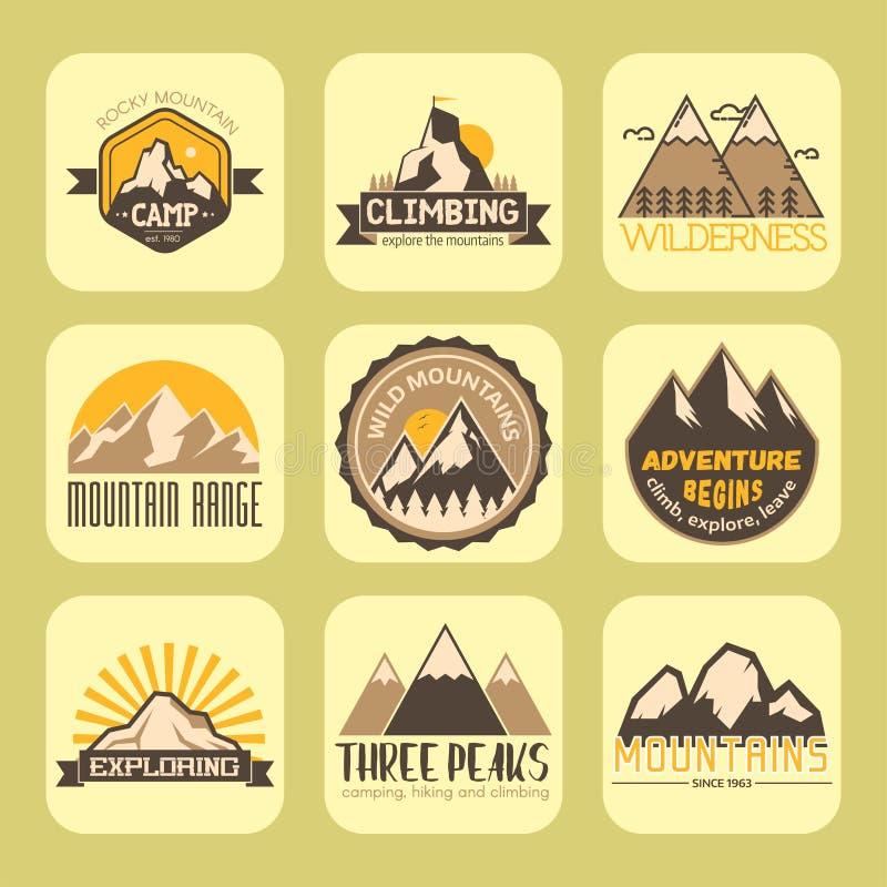 Montering-kulle för klättring för lopp för landskap för is för snö för natur för bergvektorkontur utomhus- stenig bästa dekorativ royaltyfri illustrationer
