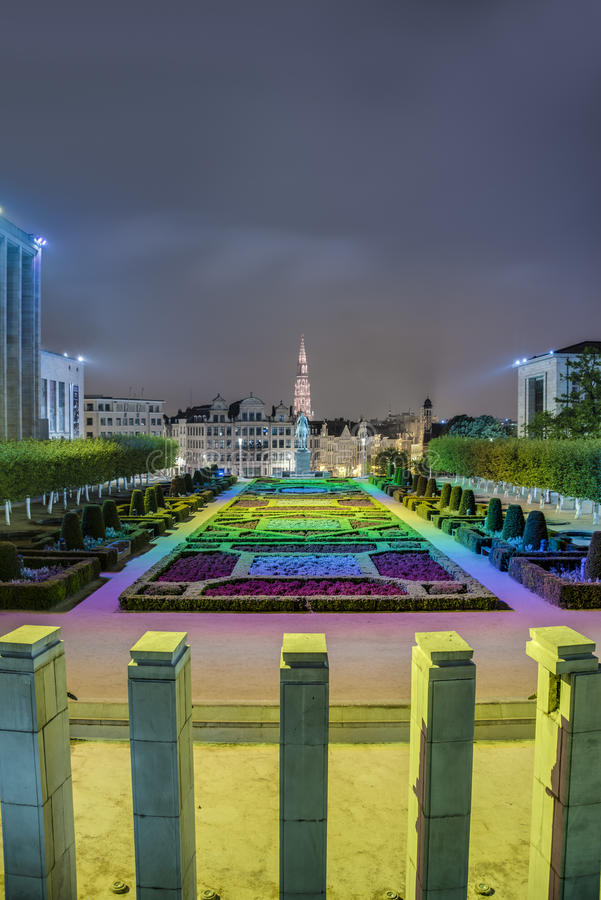 Monteringen av konsterna i Bryssel, Belgien. arkivbild