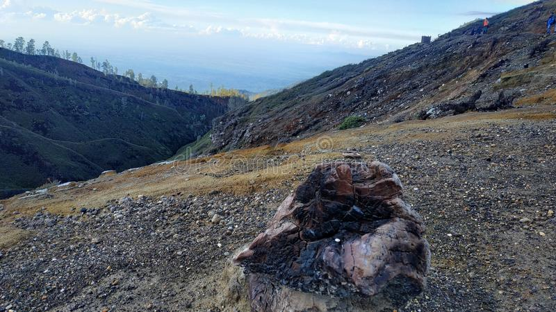 MonteringsIjen krater, Bondowoso region, Indonesien arkivbild