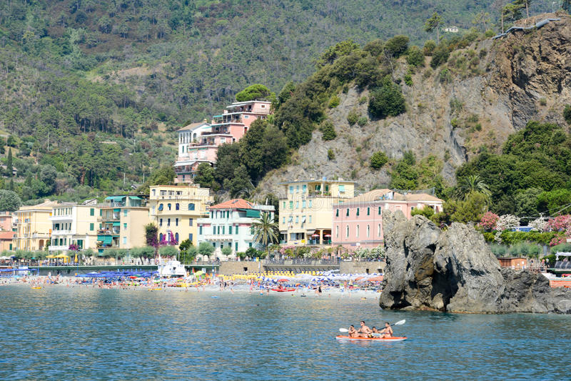 Monterosso海滩在五乡地,意大利的 图库摄影