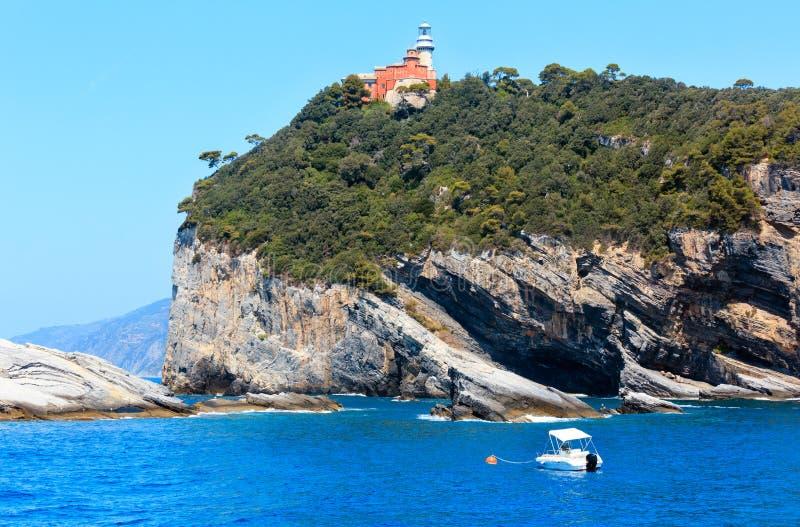 Tino island, La Spezia, Italy. Beautiful rocky sea coast of Palmaria, Tino and Tinetto islands near Portovenere (Gulf of Poets, Cinque Terre National Park royalty free stock image