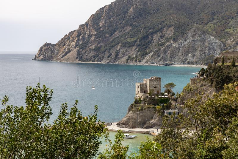 View of the castle at at Monterosso Liguria Italy royalty free stock photo