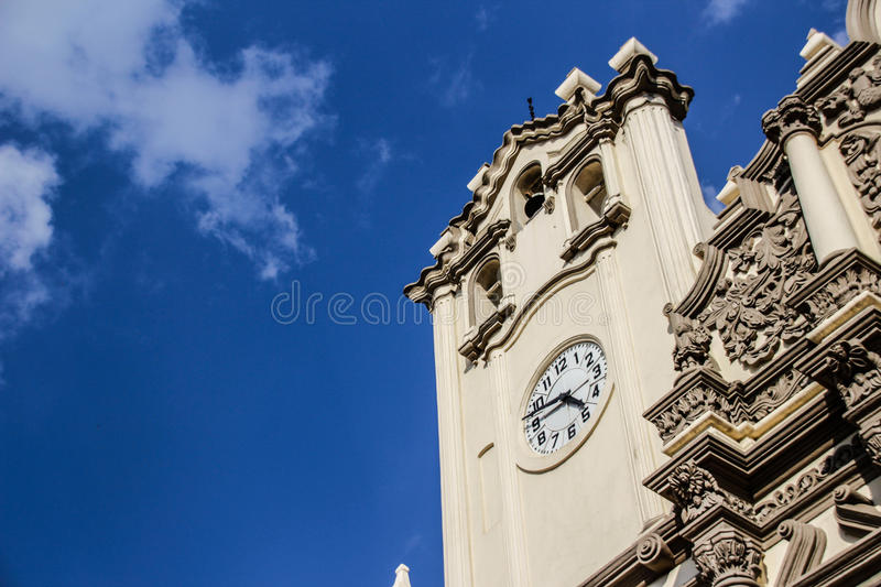 Monterrey Mexico Cathedral. 10 10 2016 / Photograph of an old stone catholic church facade of Cathedral of Monterrey Mexico royalty free stock images