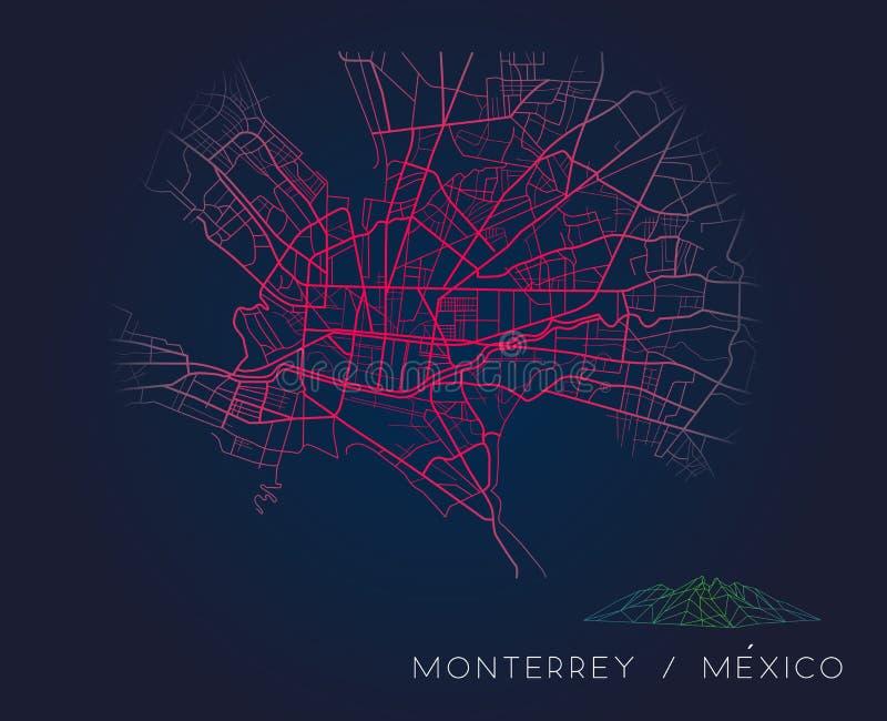 Monterrey Mexico city map digital illustration royalty free illustration