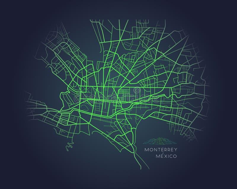 Monterrey Mexico city map digital illustration vector illustration