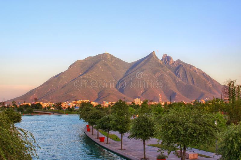 Monterrey, Mexico. The river with Monterrey, Mexico's main mountain in the background stock image