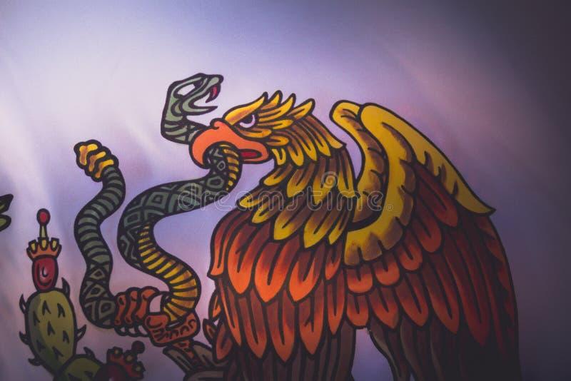 Mexico National Emblem photograph. MONTERREY, NUEVO LEON / MEXICO - 18 11 2017: Mexican National official emblem stock image