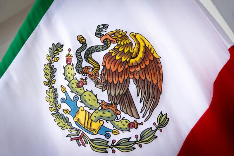 Mexico National Emblem photograph. MONTERREY, NUEVO LEON / MEXICO - 18 11 2017: Mexican National official emblem royalty free stock photo