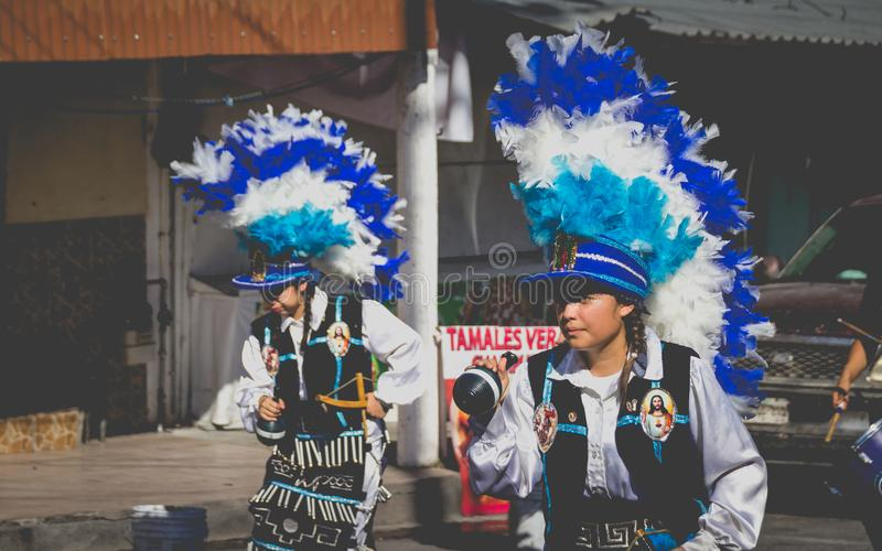 Traditional matachin mexican religious dancers. MONTERREY, NUEVO LEON / MEXICO - 18 12 2017: Mexican traditional matachin dancers in a peregrination to the royalty free stock photography