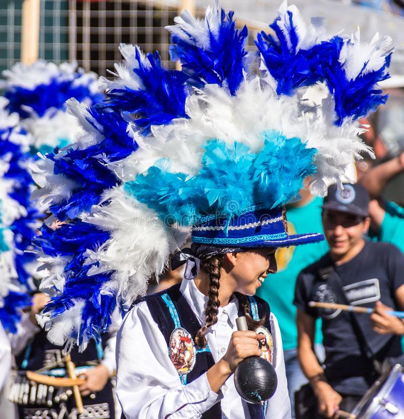 Traditional matachin mexican religious dancers. MONTERREY, NUEVO LEON / MEXICO - 18 12 2017: Mexican traditional matachin dancers in a peregrination to the royalty free stock photo