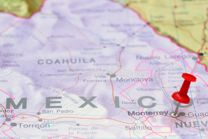 Monterrey op een kaart van Amerika wordt gespeld dat royalty-vrije stock fotografie