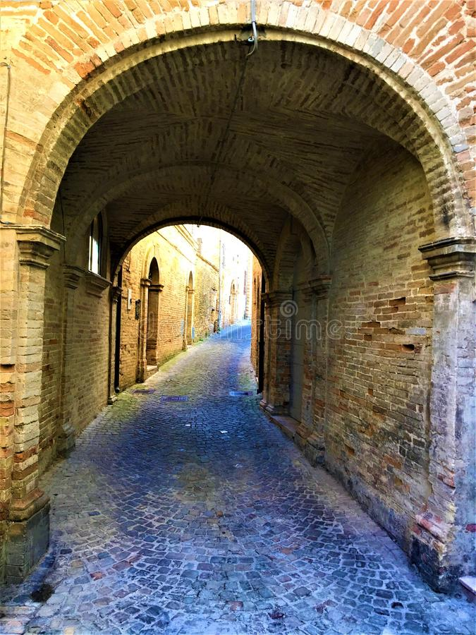 Monterubbiano town, Fermo province, Marche region, Italy. History, time, ancient street and fascination royalty free stock photo