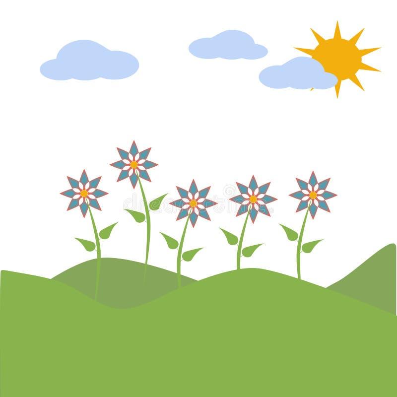 Montes, céu, sol, flores e nuvens descrevendo uma cena da mola ilustração stock