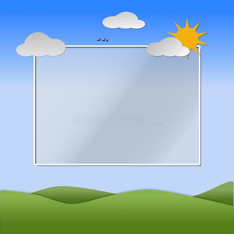 Montes, céu, sol, flores e nuvens descrevendo uma cena da mola ilustração royalty free