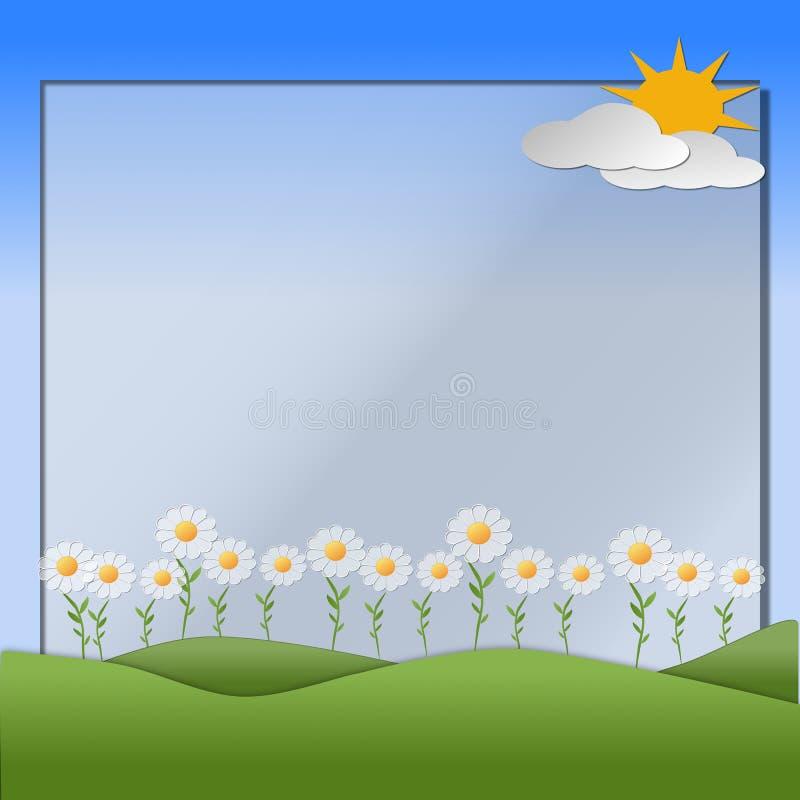 Montes, céu, sol, flores e nuvens descrevendo uma cena da mola ilustração do vetor