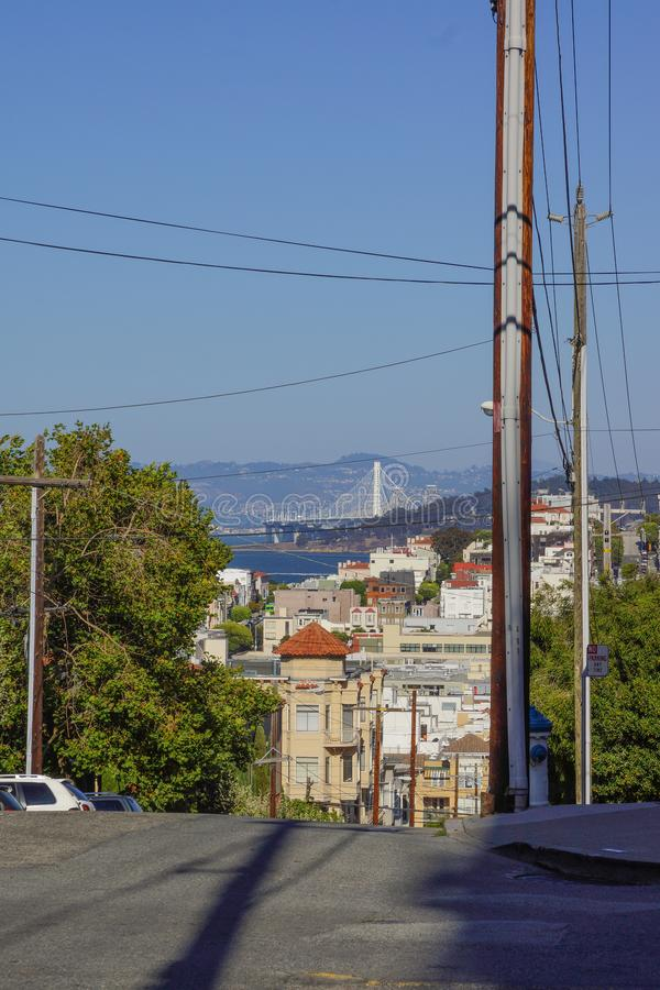 Montes da etapa na opinião de San Francisco na skyline fotos de stock royalty free