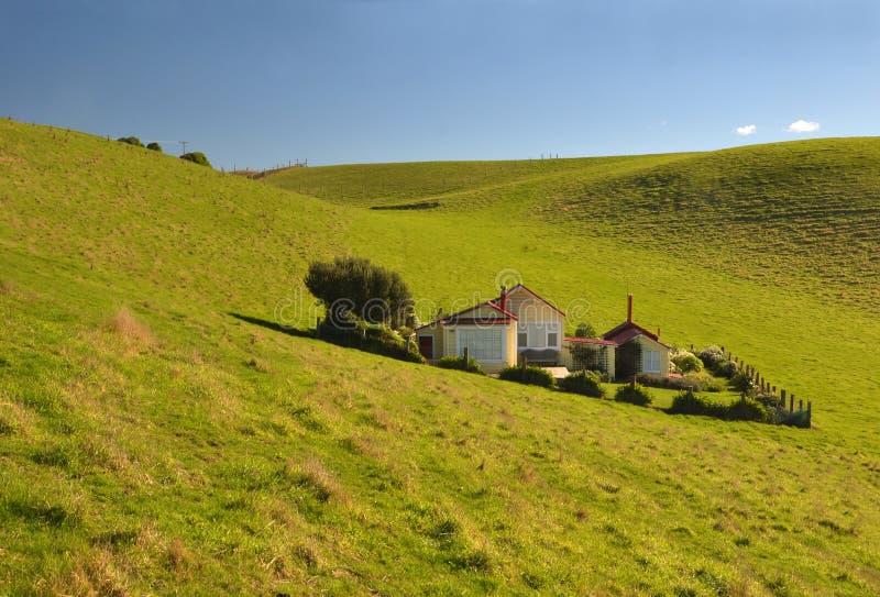 Montes da península de Katiki & casa, Nova Zelândia fotografia de stock