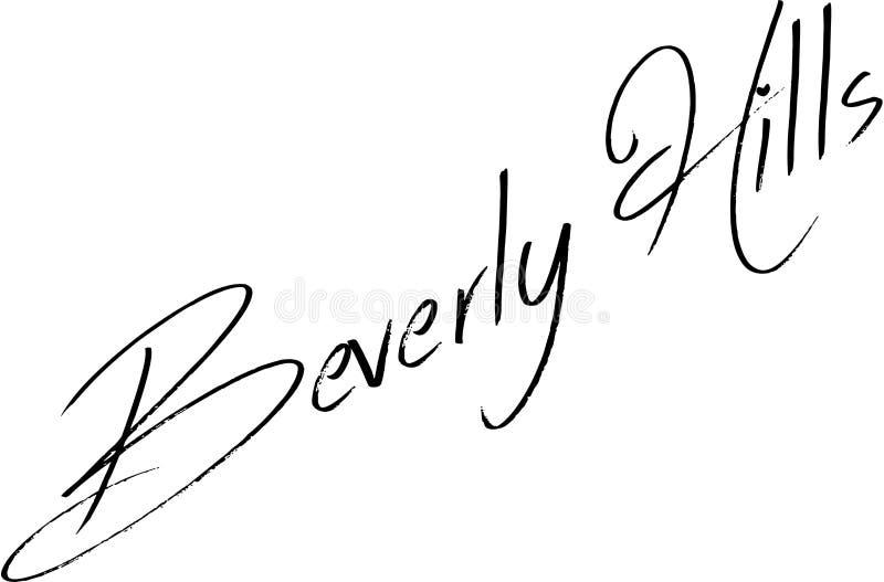 Montes de Baverly Ilustração do sinal do texto de Califórnia ilustração do vetor
