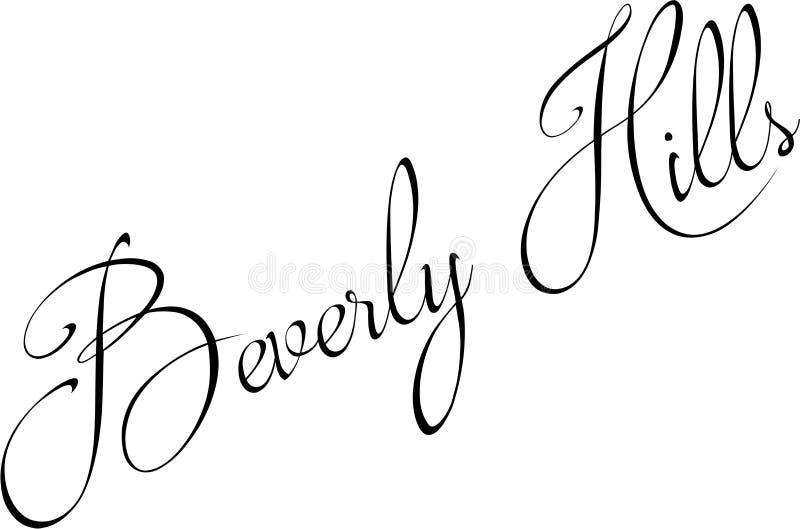 Montes de Baverly Ilustração do sinal do texto de Califórnia ilustração royalty free
