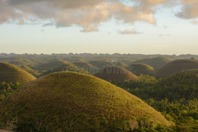 Montes do chocolate - marco principal da ilha de Bohol, Filipinas fotografia de stock