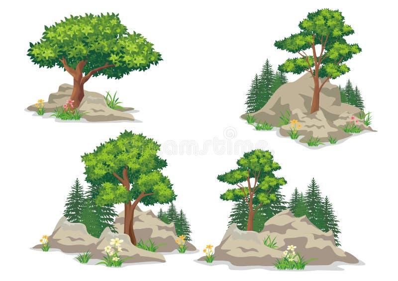Montes do solo ou das rochas, com grama e árvores ilustração royalty free