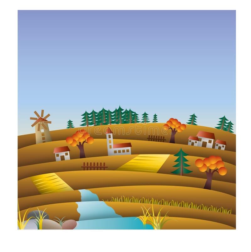 Montes e campos no outono, queda, ilustração da paisagem com moinho imagens de stock