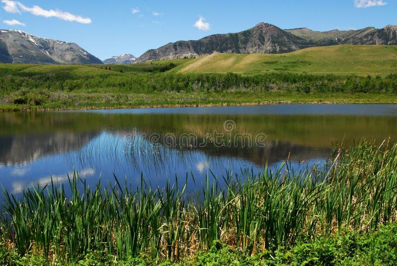 Montes e lago fotos de stock