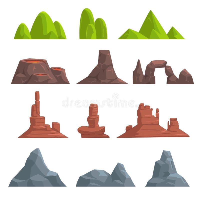 Montes e montanhas dos desenhos animados ajustados ilustração stock