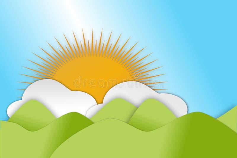 Montes verdes de rolamento na estação de mola com nuvens e sol ilustração stock