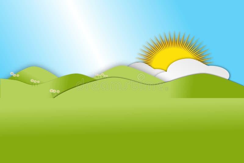 Montes verdes de rolamento na estação de mola com nuvens e sol ilustração do vetor