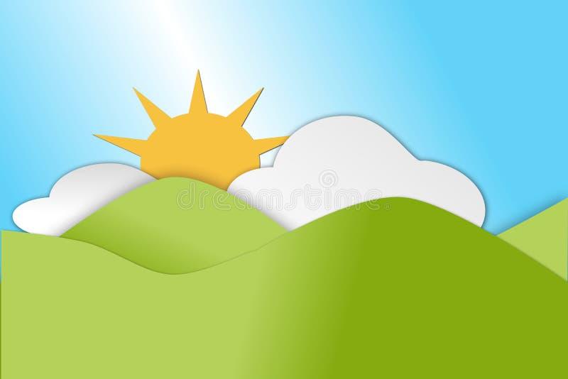 Montes verdes de rolamento na estação de mola com nuvens e sol ilustração royalty free