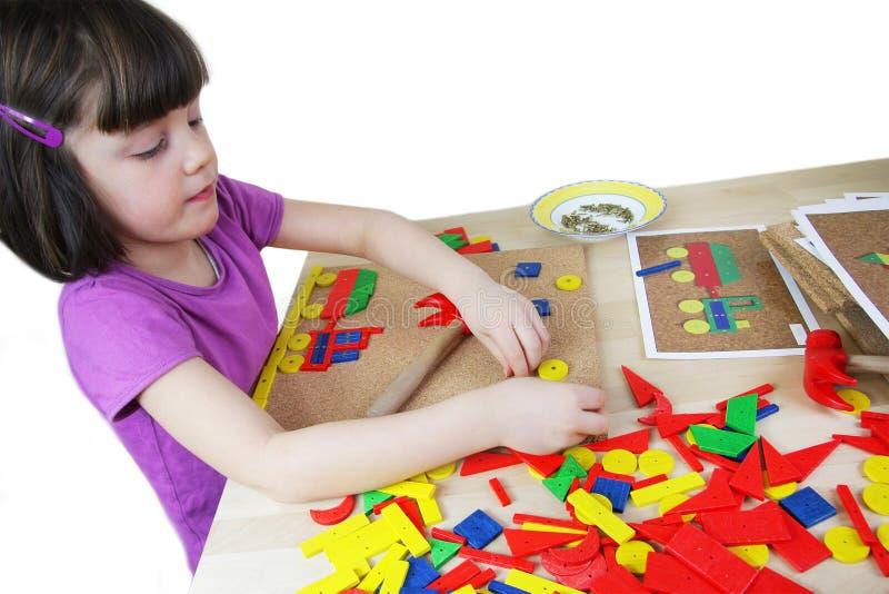 Montessori难题。 幼稚园。 库存照片