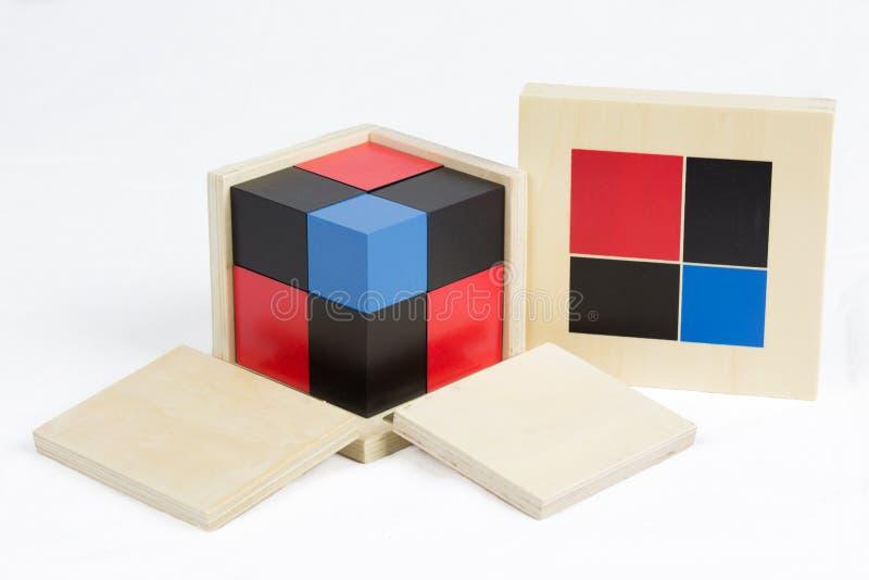 Montessori Materiële Binomiale Kubus stock foto's