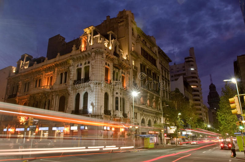 Montevideo. A view of the main street of the Uruguay capital, with an example of the strong spanish architectonic influence in its old constructions stock image