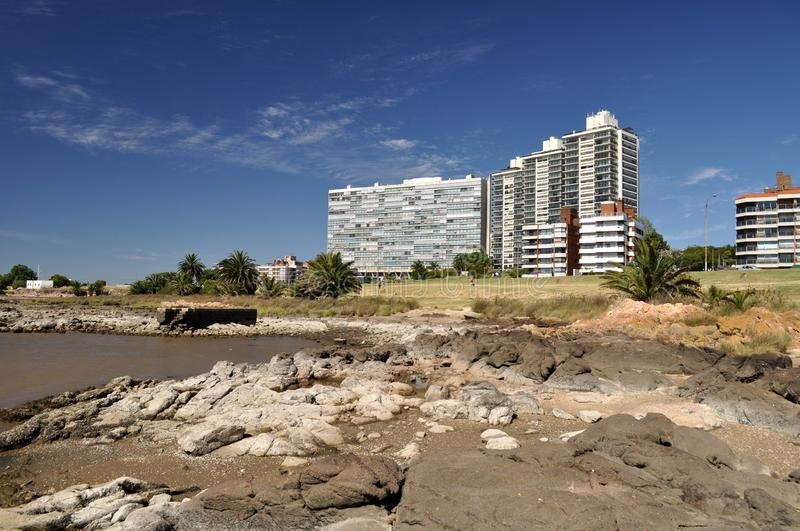 Montevideo beach and skyline on a sunny day royalty free stock photo